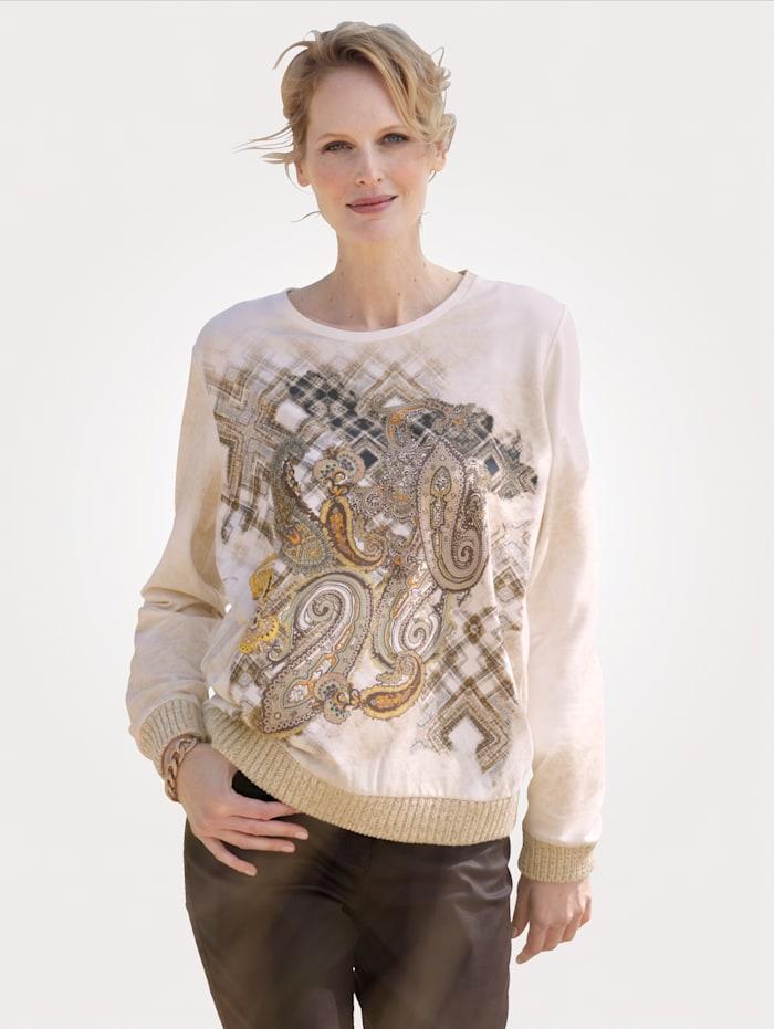 MONA Sweatshirt mit Paisley-Druck, Ecru/Sand/Ockergelb