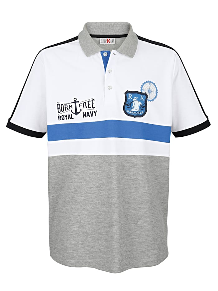 Roger Kent Poloshirt mit Druck und Emblem, Weiß/Grau