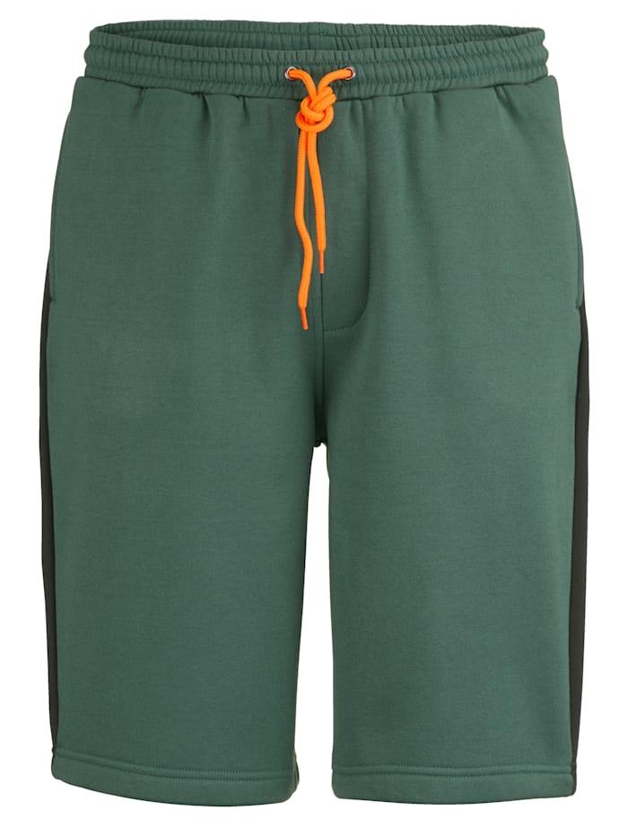 Men Plus Sweatshorts med trykk på siden, Mørkegrønn/Svart