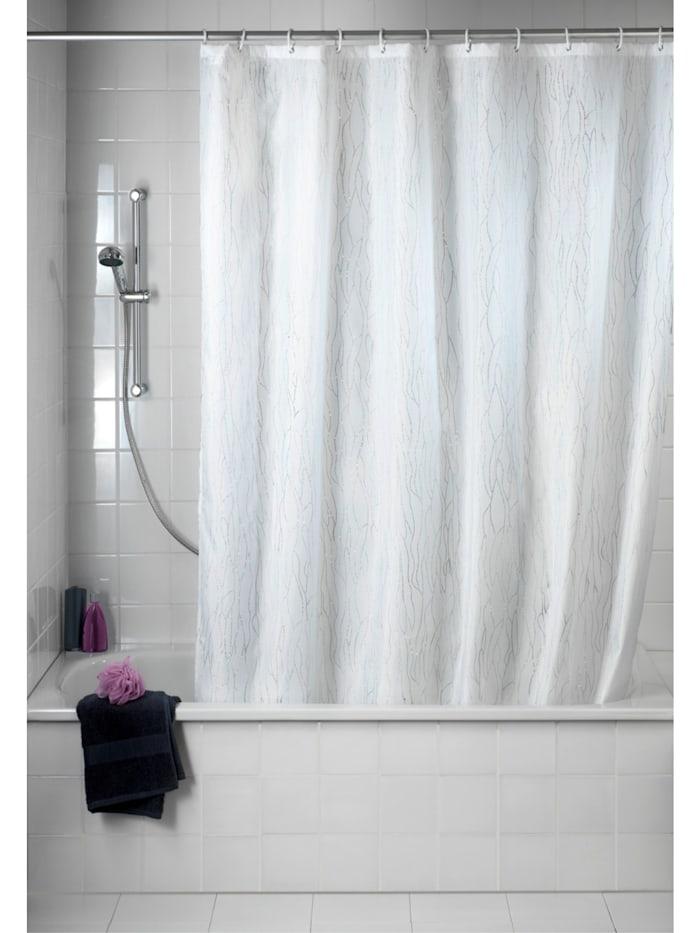 Duschvorhang Deluxe Weiß, mit glänzenden Applikationen, Textil (Polyester), 180 x 200 cm, waschbar