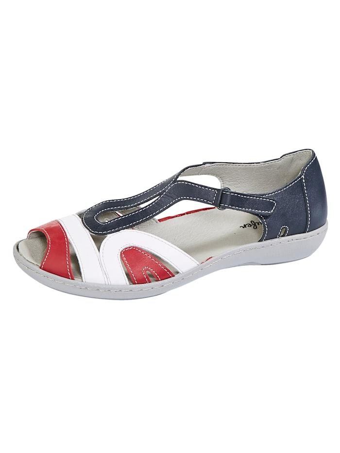 Naturläufer Sandale, Blau/Weiß/Rot