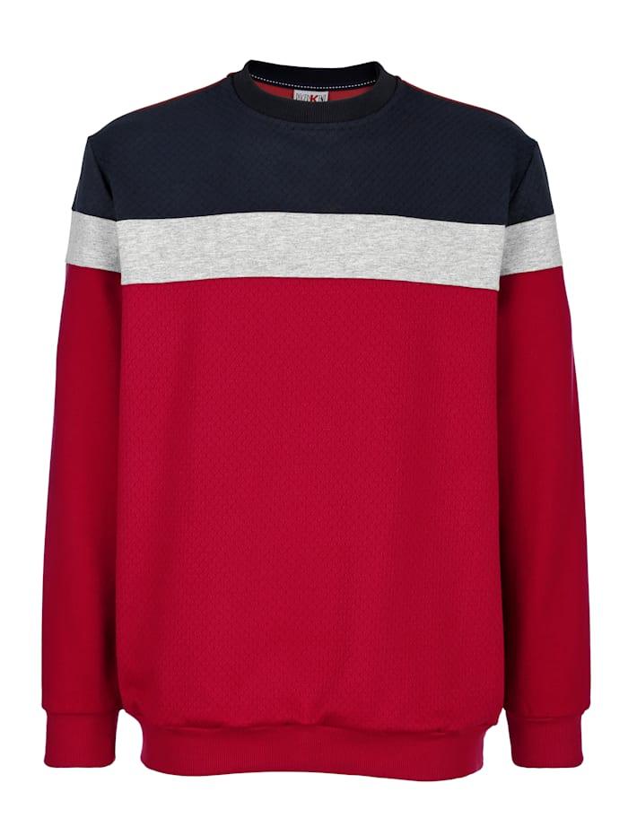 Roger Kent Sweatshirt mit Kontrasteinsätzen, Grau/Rot/Marineblau