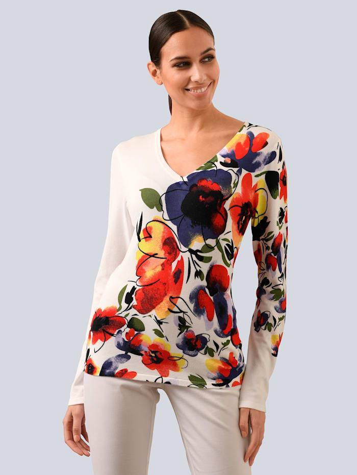 Alba Moda Pullover mit platziertem Print, Weiß/Rot/Blau/Gelb