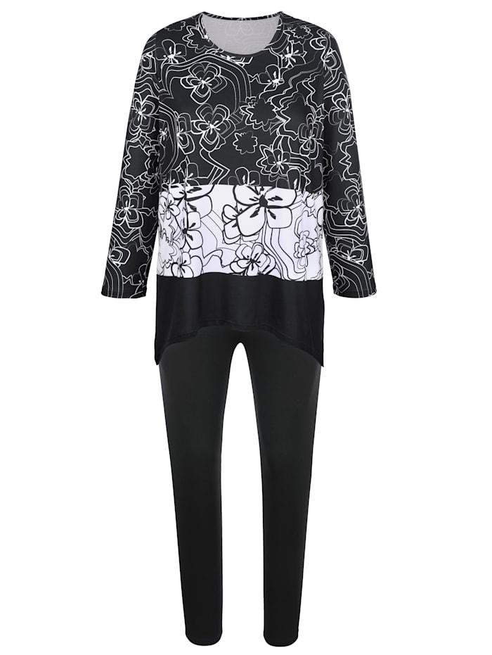 Harmony Športové oblečenie s manžetami na rukávoch, Čierna/Biela