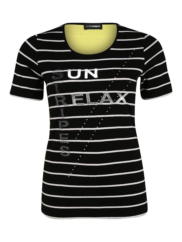 Doris Streich T-Shirt mit Wording Glitzereffekt, schwarz/weiß