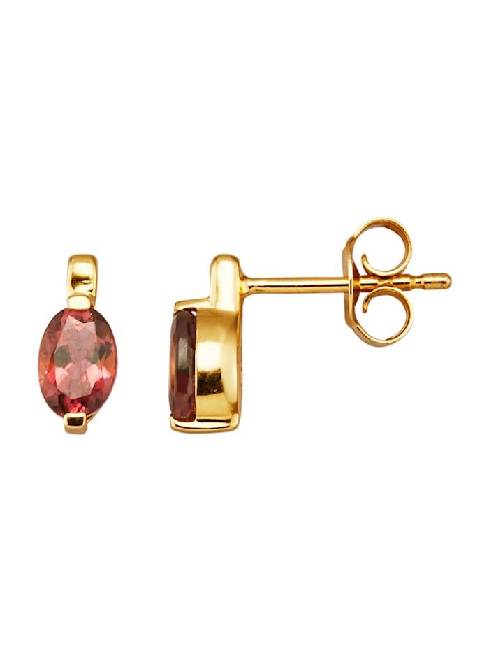 Amara Pierres colorées Boucles d'oreilles en or jaune 585, Rose vif