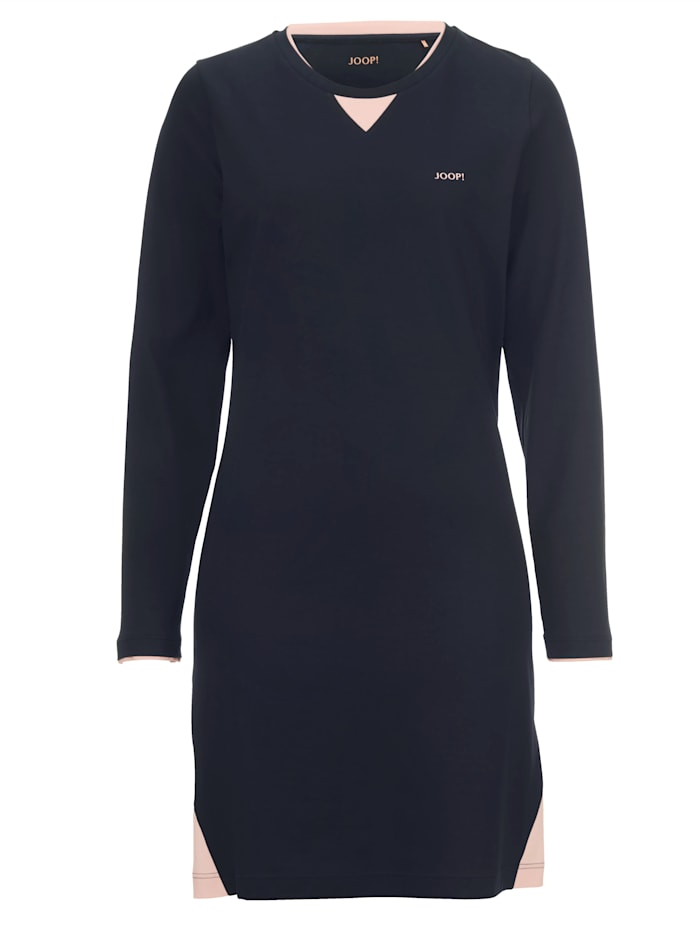 JOOP! Nachthemd met trendy contrastinzetten, Marine