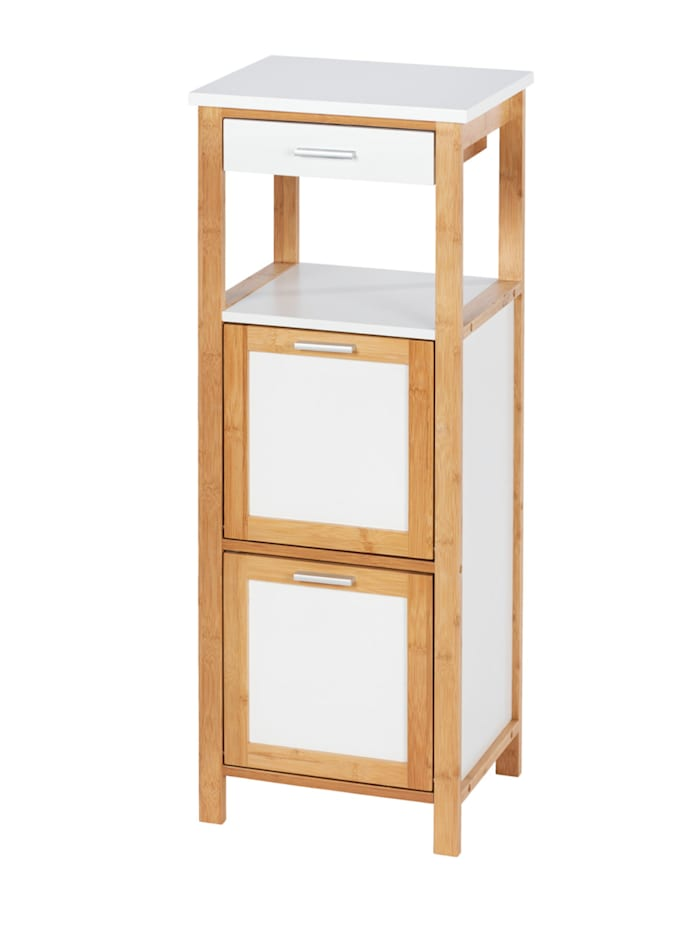 Wenko Regal Finja aus Bambus mit 2 Ablagen, 2 Fächern und Schublade, Rahmen: Braun, Brett: Weiß