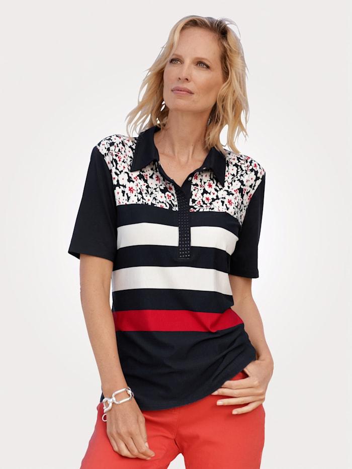 MONA Poloshirt im hübschen Druck-Mix, Marineblau/Weiß/Rot