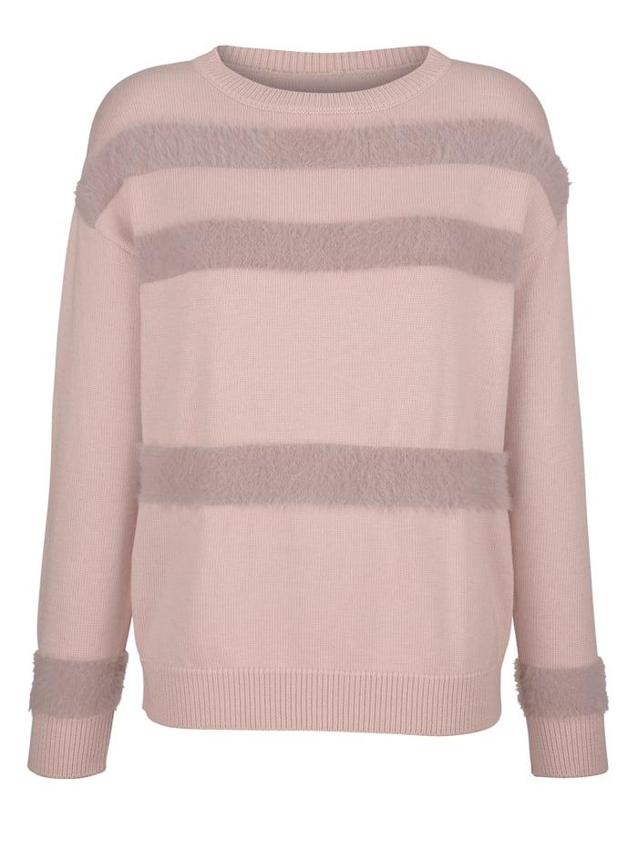 AMY VERMONT Pullover mit eingestrickten Streifen aus flauschigem Material, Rosé