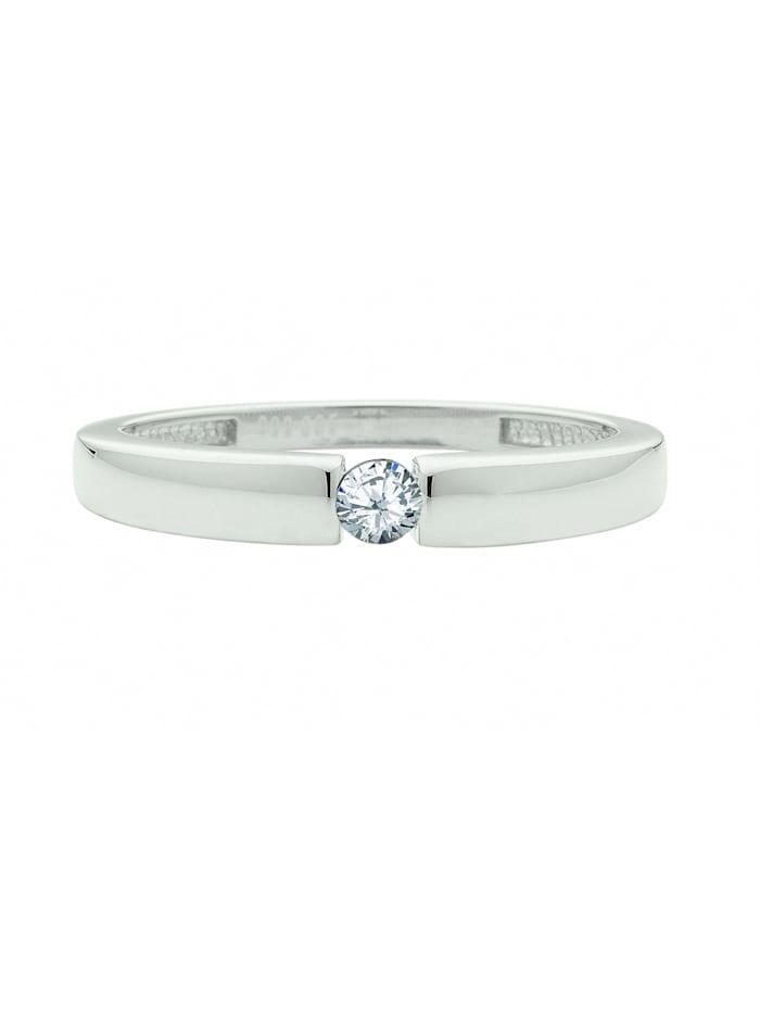1001 Diamonds Damen Goldschmuck 585 Weißgold Ring mit Zirkonia, silber