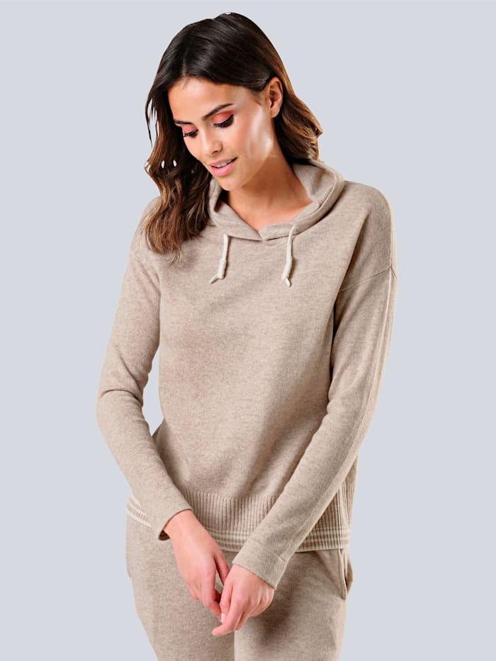 Alba Moda Pullover mit großzügigem locker fallendem Stehkragen, Beige/Off-white