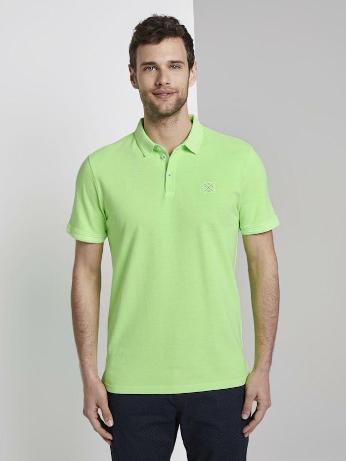 Tom Tailor Poloshirt mit Logo-Patch, neon gecko green