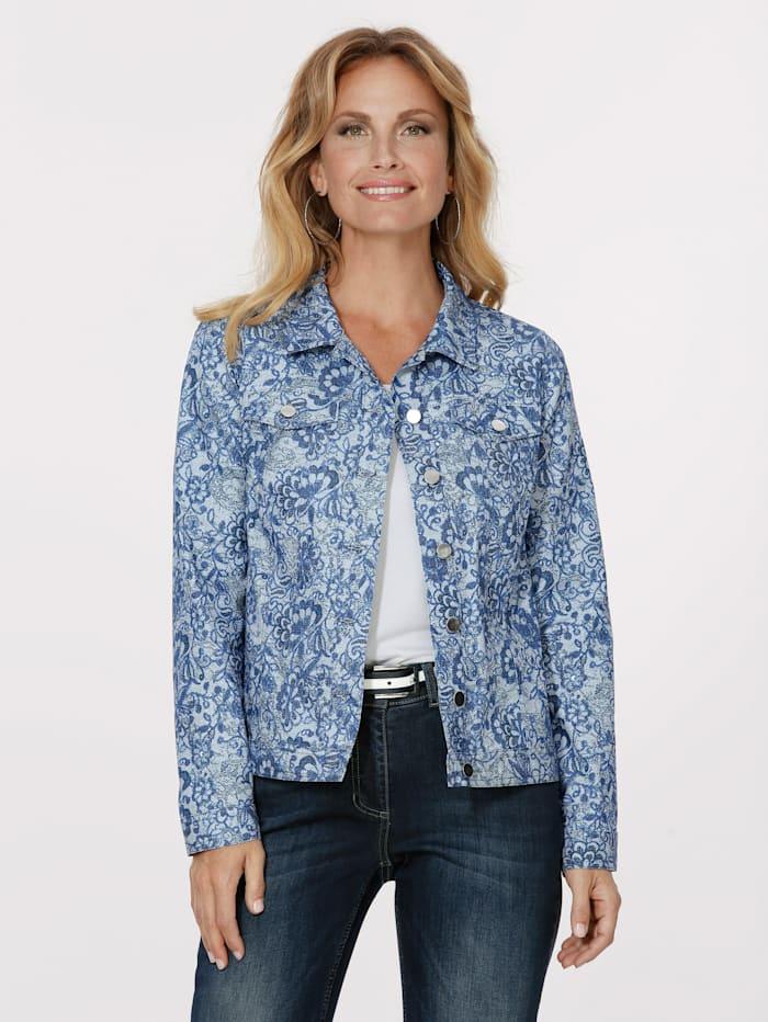 MONA Veste en jean à imprimé floral, Bleu