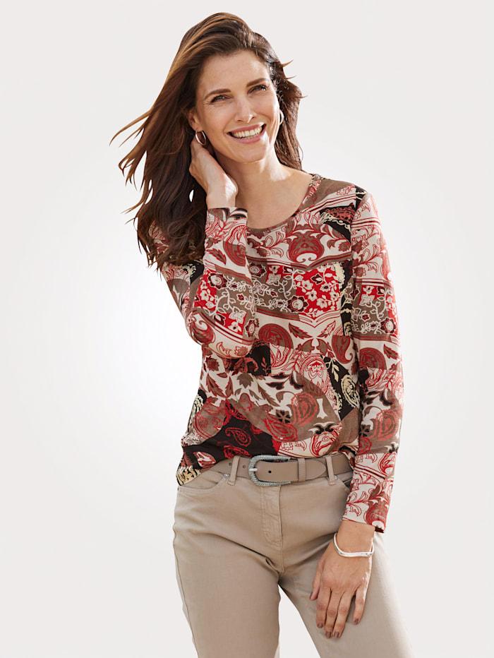 Barbara Lebek T-shirt à motif cachemire, Rouge clair/Beige/Noir