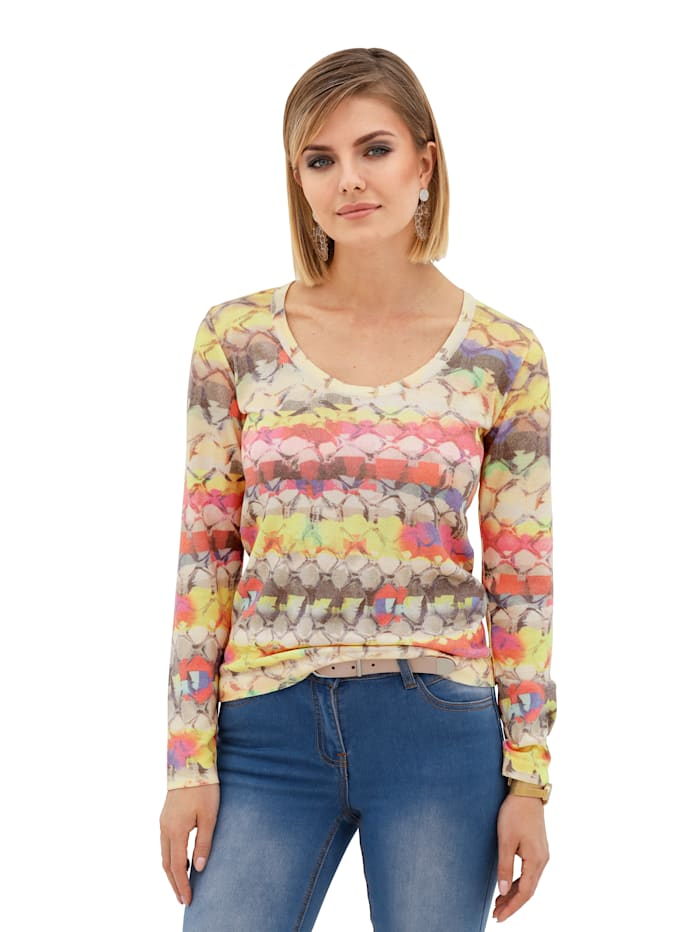 AMY VERMONT Pullover mit buntem Snake-Print, Multicolor