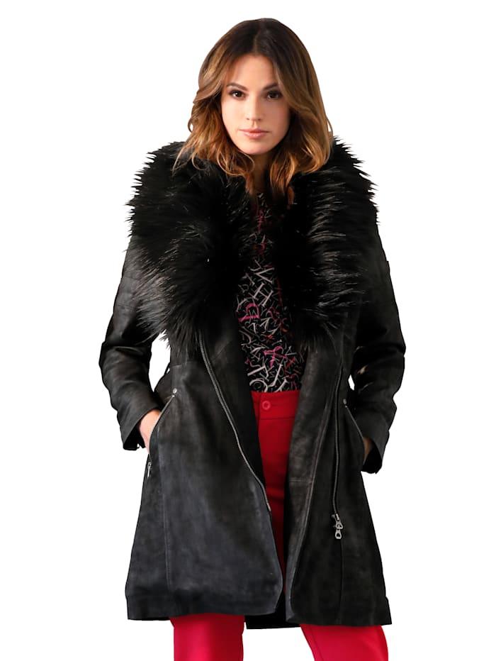 Gipsy Leren mantel met afneembare imitatiebontrand, Zwart