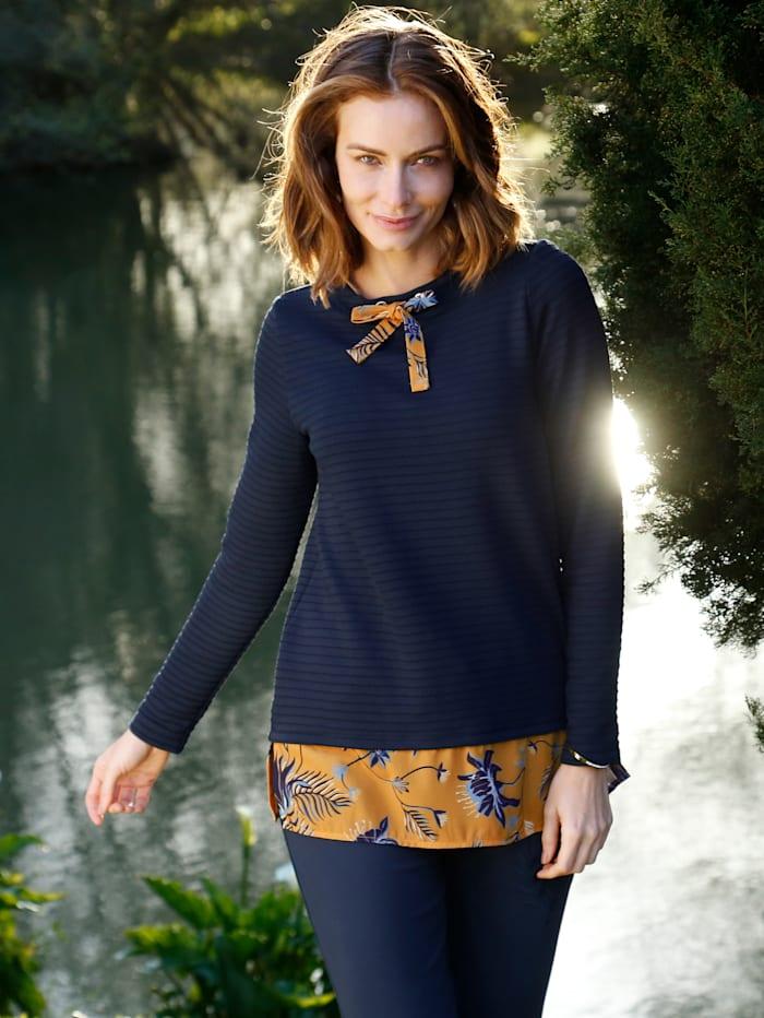 Paola Sweatshirt mit bedrucktem Webeinsatz, Marineblau/Ockergelb