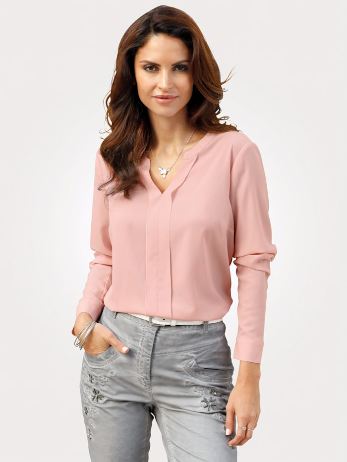MONA Blouse in a comfortable pull-on style, Rosé