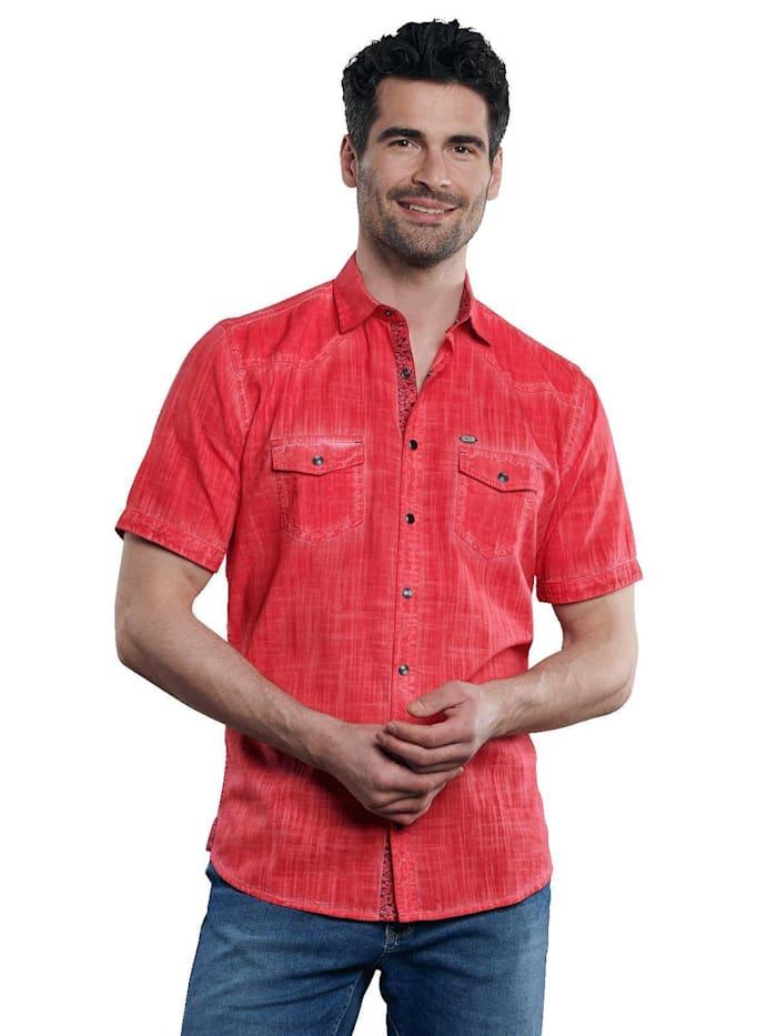 Engbers Kurzarm-Hemd aus Leinenmix, Feuerrot