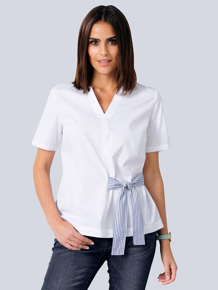 Alba Moda Bluse mit Bindebändern, Weiß/Marineblau