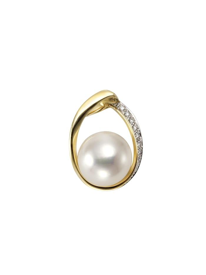 Orolino Anhänger 585/- Gelbgold Perle Brillanten 585/- Gold Süßwasserzuchtperle weiß 1,95cm Glänzend 0,045ct, gelb