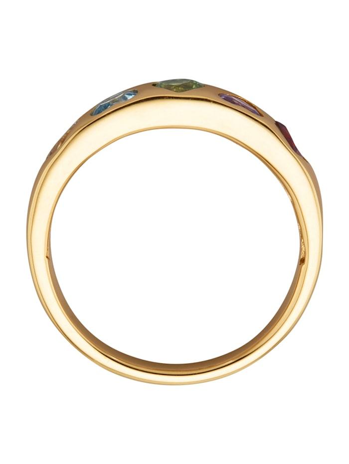 Herz-Ring mit Farbsteinen