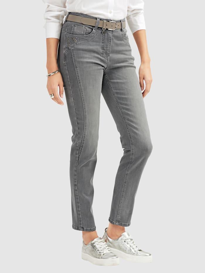 MONA Jeans met strassteentjes op de zakken, Grijs