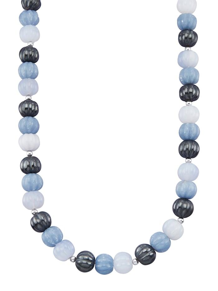 Collier avec pierres fantaisie de couleur, Bleu