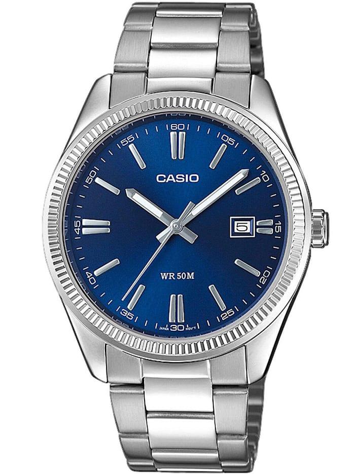 Casio Herrenuhr mit Stahlband, Blau