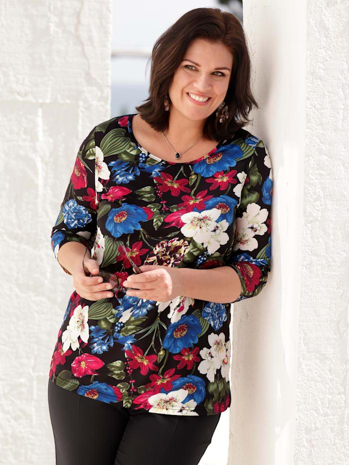 m. collection Shirt mit Blumenmuster, Schwarz