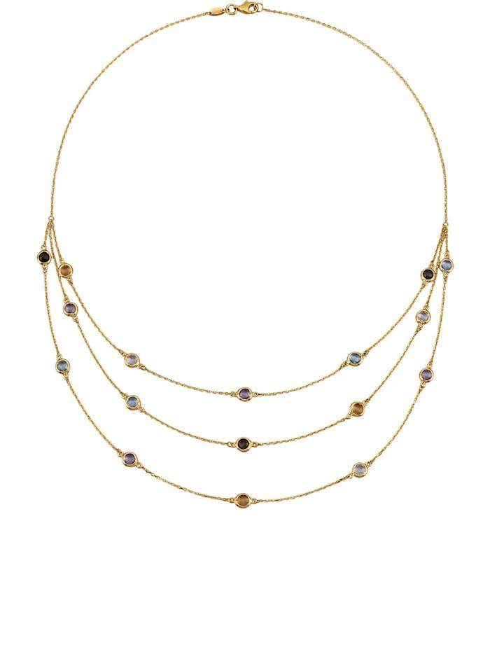 Halskette mit Blautopasen mit Blautopasen, Rauchquarzen, Citrinen, Amethysten und Weißquarzen, Multicolor