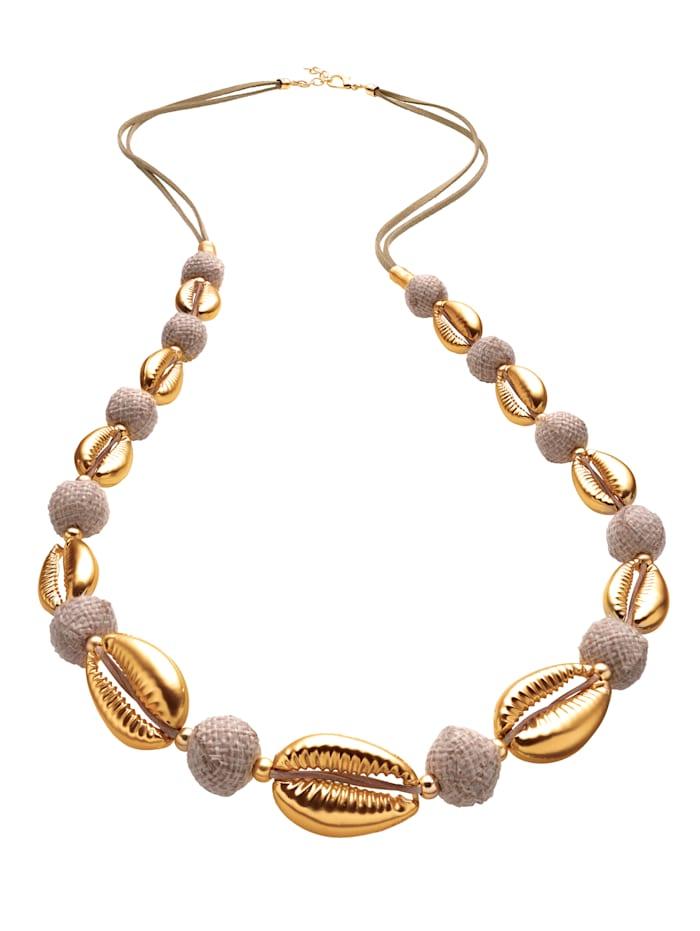Halskette mit goldfarbenen Muschelelementen, Beige