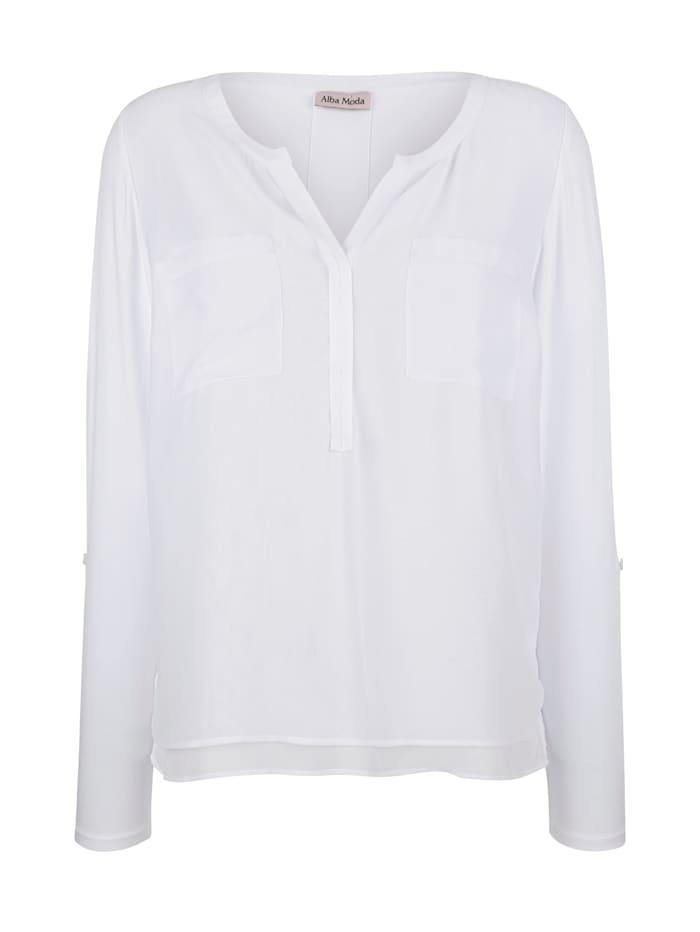 Alba Moda Shirt im Material-Mix, Weiß