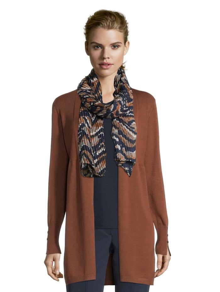 Betty Barclay Basic-Schal mit Plissee, Blau/Camel