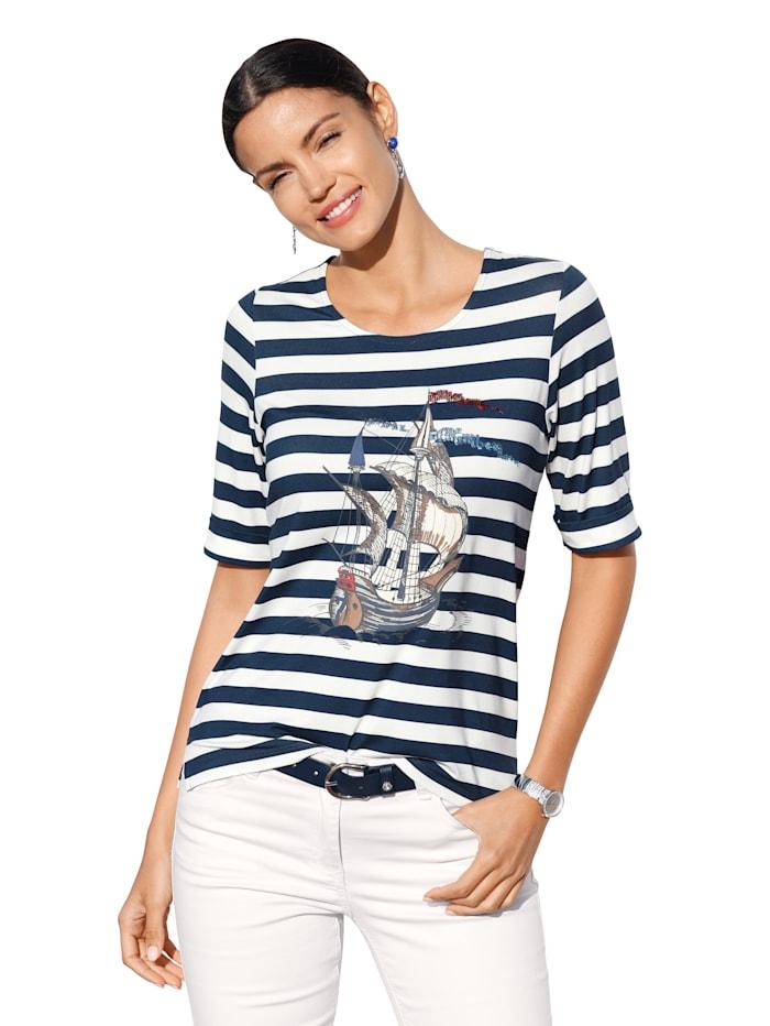 AMY VERMONT Shirt mit Druckmotiv, Marineblau/Off-white