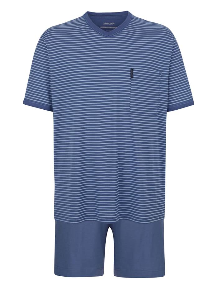 Ammann Pyjashort à motif rayé tissé teint, Bleu ciel