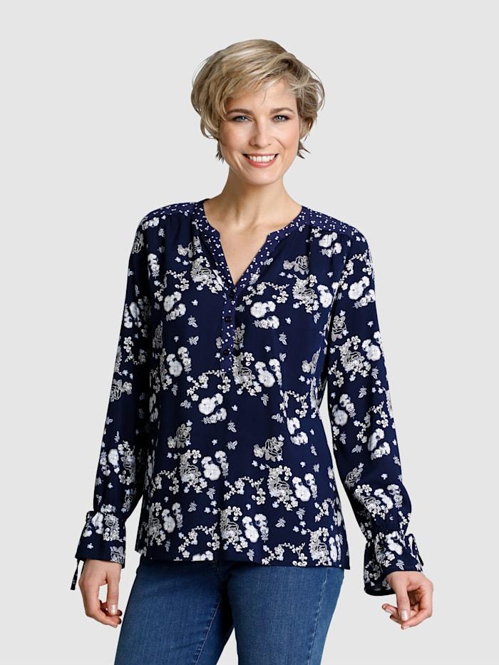 Dress In Tunika im modischen Blumendruck, Marineblau