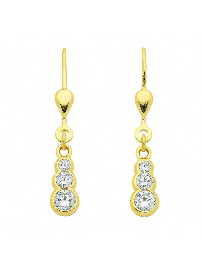 1001 Diamonds Damen Goldschmuck 333 Gold Ohrringe / Ohrhänger mit Zirkonia, gold