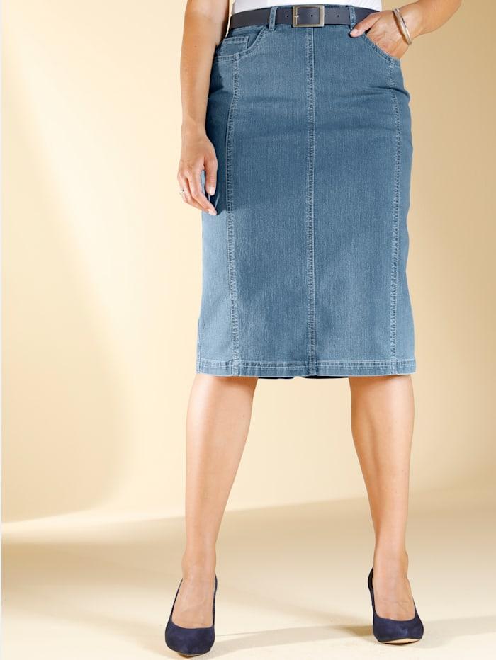 m. collection Jeansrock mit Eingrifftaschen, Blue bleached