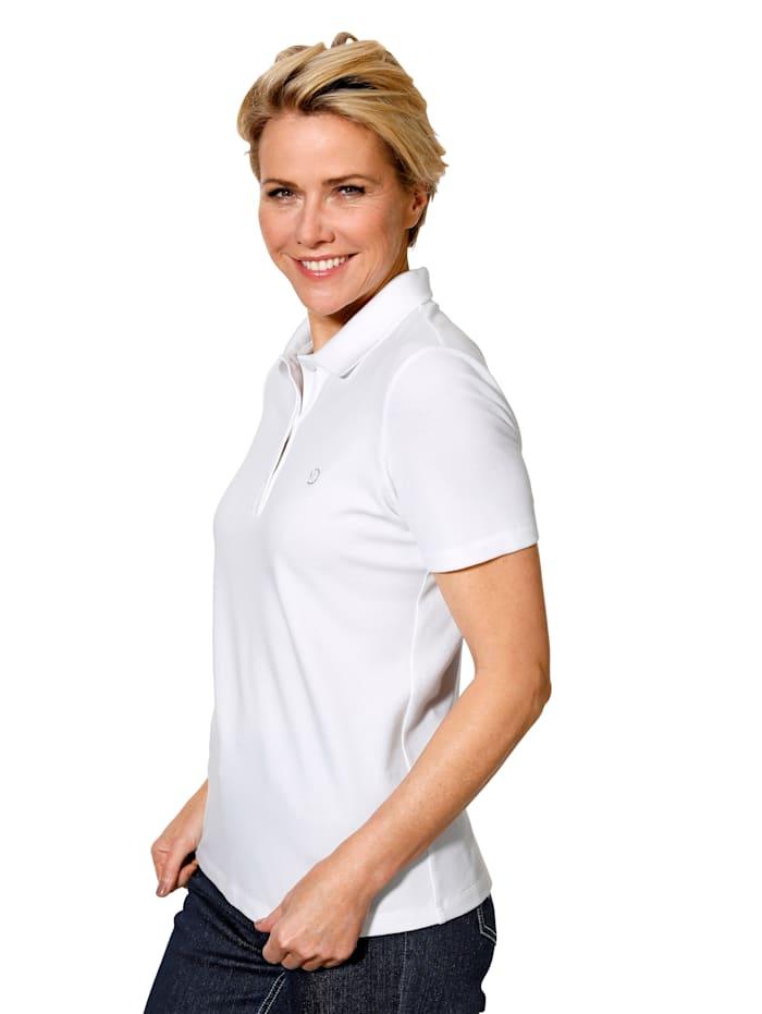 MONA Poloshirt in Pimabaumwoll-Picquee, Weiß