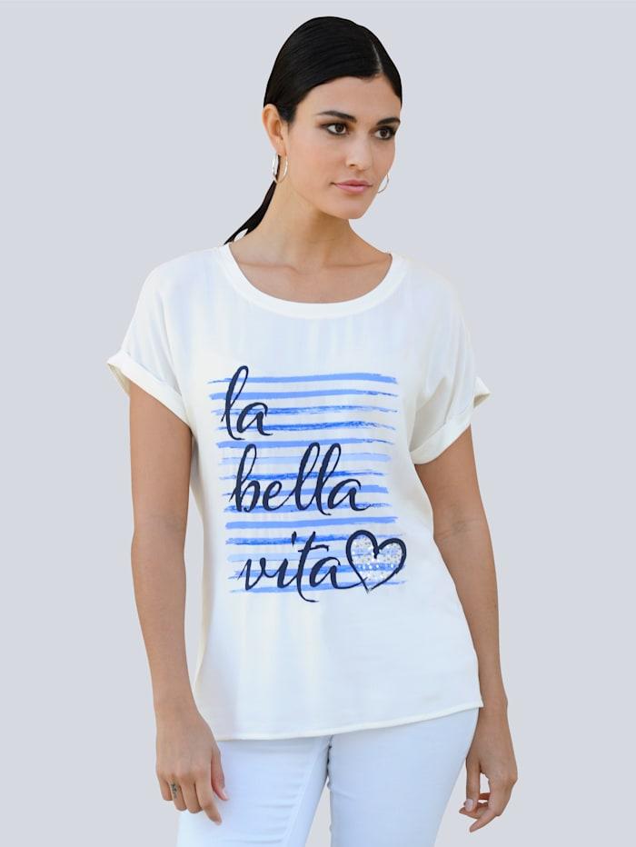 Alba Moda T-shirt à imprimé exclusif Alba Moda, Blanc cassé/Bleu/Marine
