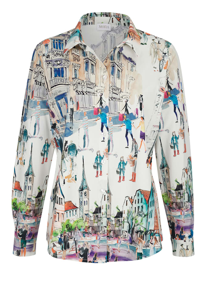 Blouse with a placed print