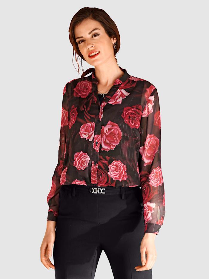 Paola Blus med blommigt mönster, Svart/Granatröd