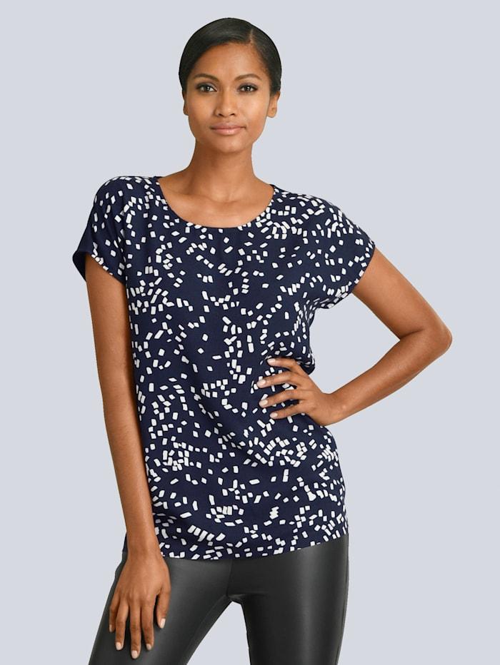 Alba Moda Shirt mit grafischem Print im Vorderteil, Marineblau/Weiß