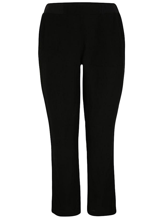 Doris Streich Leinenhose mit elastischem Bund, schwarz