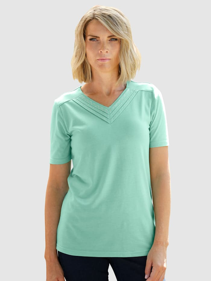 Paola Shirt mit Strasssteinchen, Salbeigrün