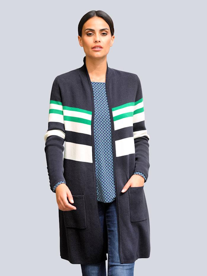 Alba Moda Vest met jacquardpatroon, Marine/Groen/Offwhite