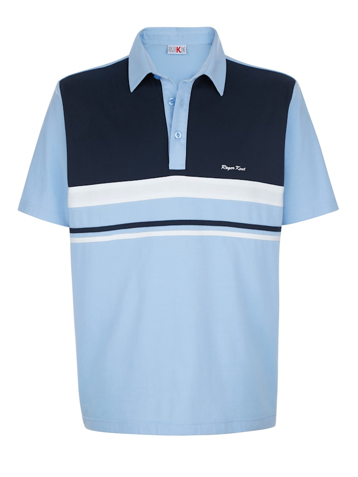 Roger Kent Poloshirt mit Kontrasteinsatz im Vorderteil, Hellblau/Marineblau