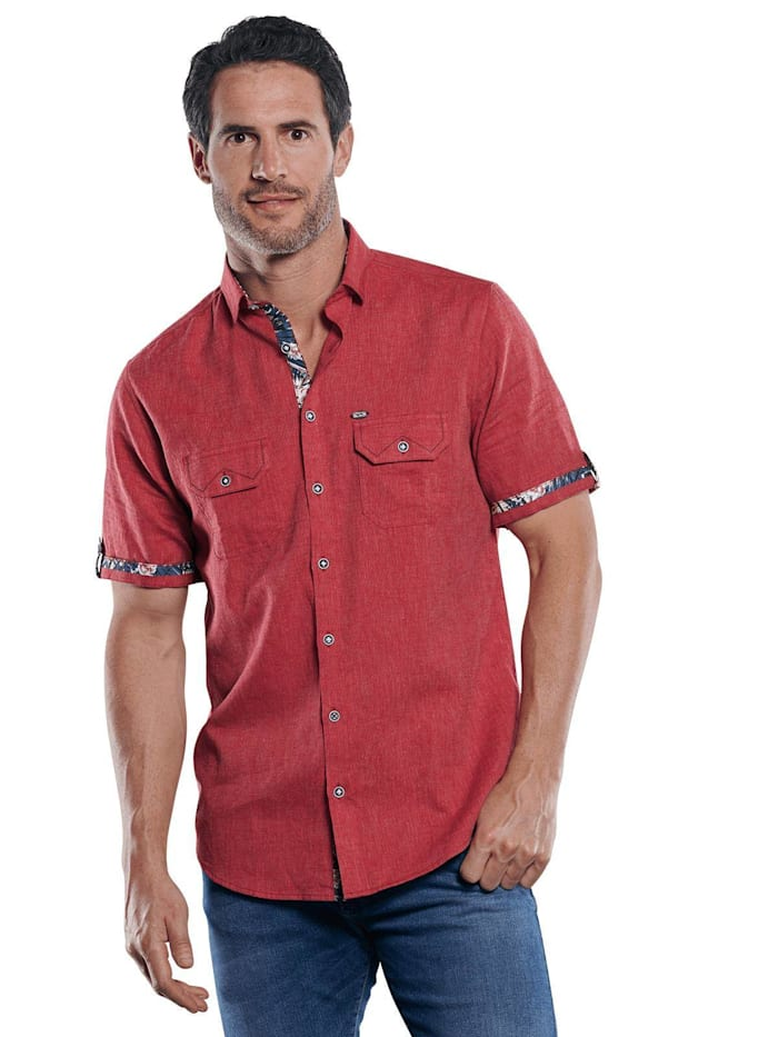 Engbers Sportives Hemd mit floralen Kontrastnähten, Tomatenrot